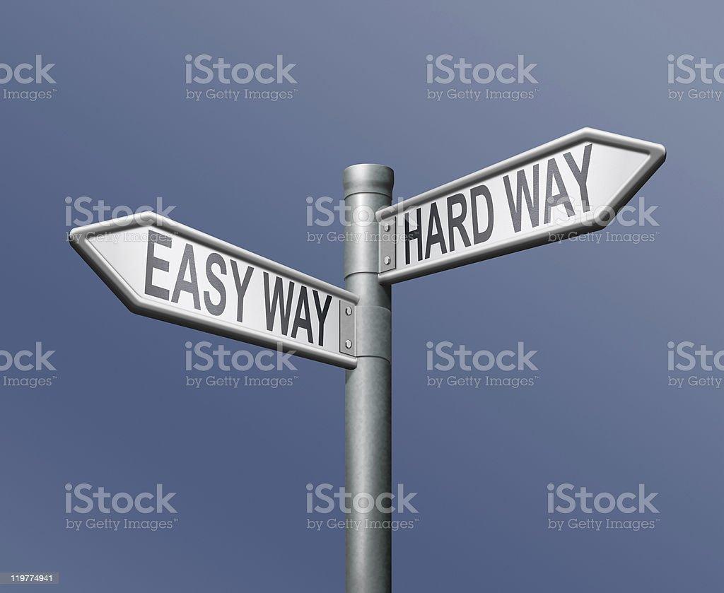 easy hardway road sign arrow royalty-free stock photo