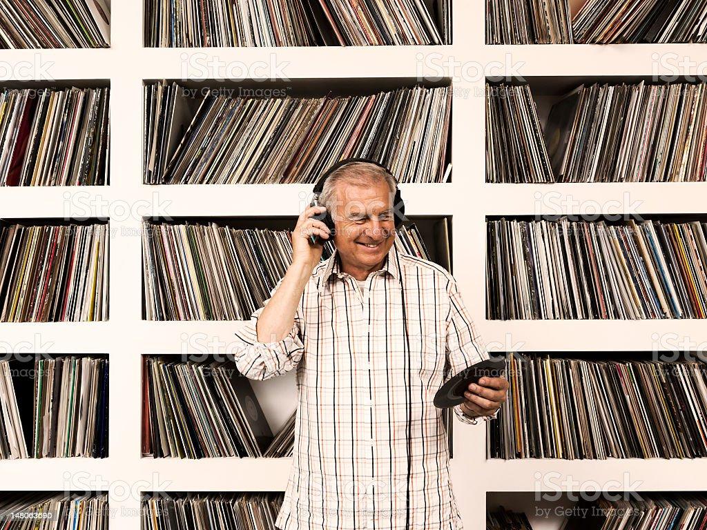 Easy Listening to Vinyl Records stock photo