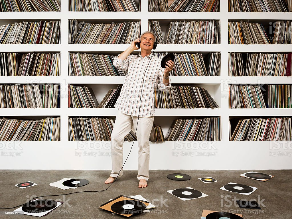 Easy Listening to Vinyl Records stock photo