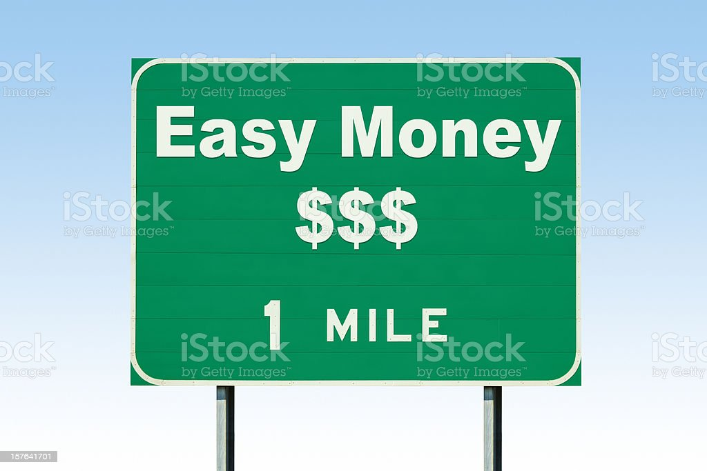 Easy Money One Mile Highway Road Sign stock photo