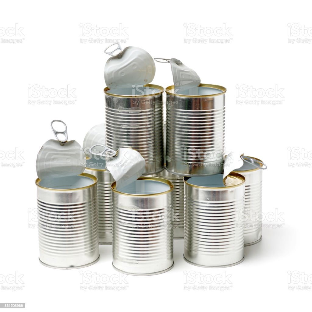 Easy Open Pull Tab Metal Food Can With Top Raised on white background stock photo