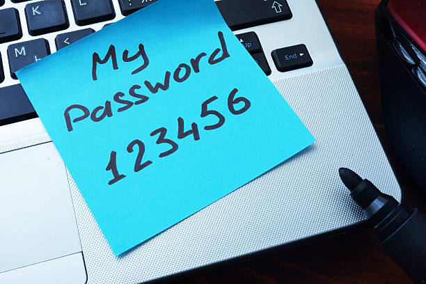 easy password concept.  my password 123456 written on a paper. - rudeness stock pictures, royalty-free photos & images