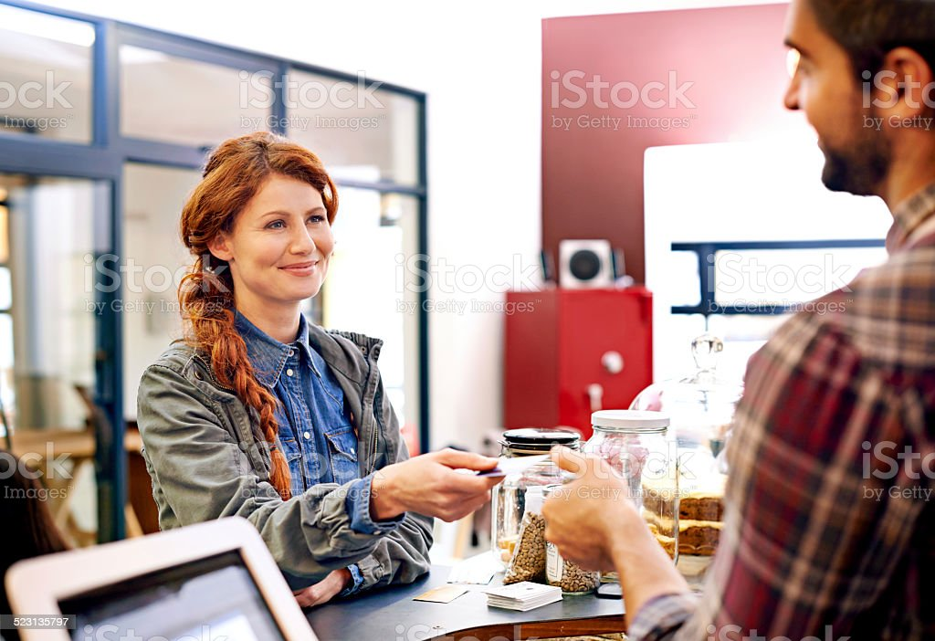 Easy pay cafe stock photo