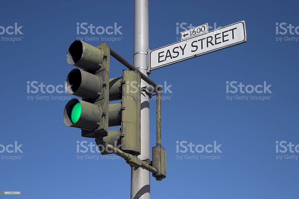 Easy Street with Green Light stock photo
