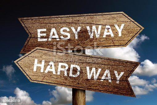954712506istockphoto Easy Way And Hard Way 528634519