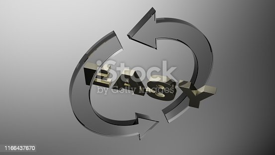 istock Easy with glass transparent gray rotating arrows - 3D rendering illustration 1166437670