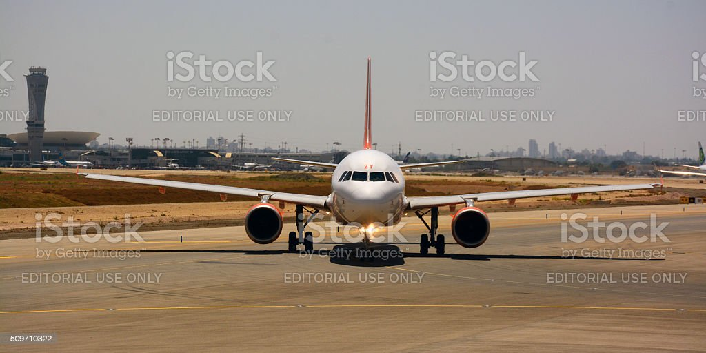 EasyJet Airbus A320  0n the runway, Front view stock photo
