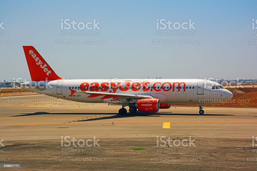 EasyJet Airbus A320  0n the runway stock photo