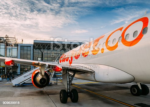 Milan Malpensa, Italy - November 21st, 2017:  Easyjet Airbus A320 airplane at Milan Malpensa airport, servicing short-haul flights in Europe