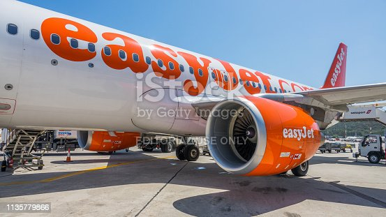 Rhodes, Greece - June 15th 2016: Airplane of the company Easyjet  parked for boarding and disembarkation of passengers.  EasyJet, is a British low-cost airline based at London Luton Airport. It operates domestic and international scheduled services on over 1,000 routes in more than 30 countries.