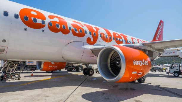 Easyjet Airbus A320 airplane on the ground stock photo