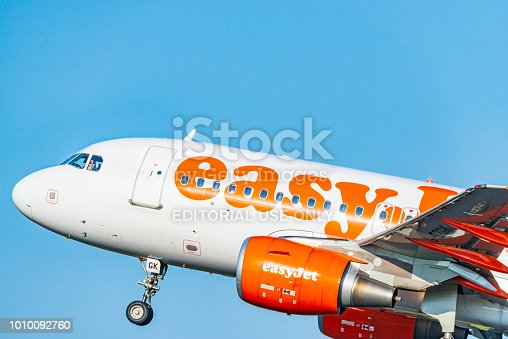 EasyJet Airbus A319-111 taking off from Amsterdam Airport Schiphol from the Polderbaan during a day with clear weather.