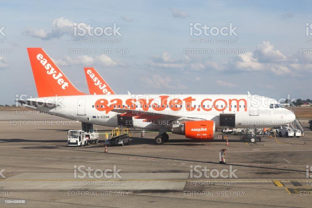 Easyjet aircraft at Lyon airport, France stock photo