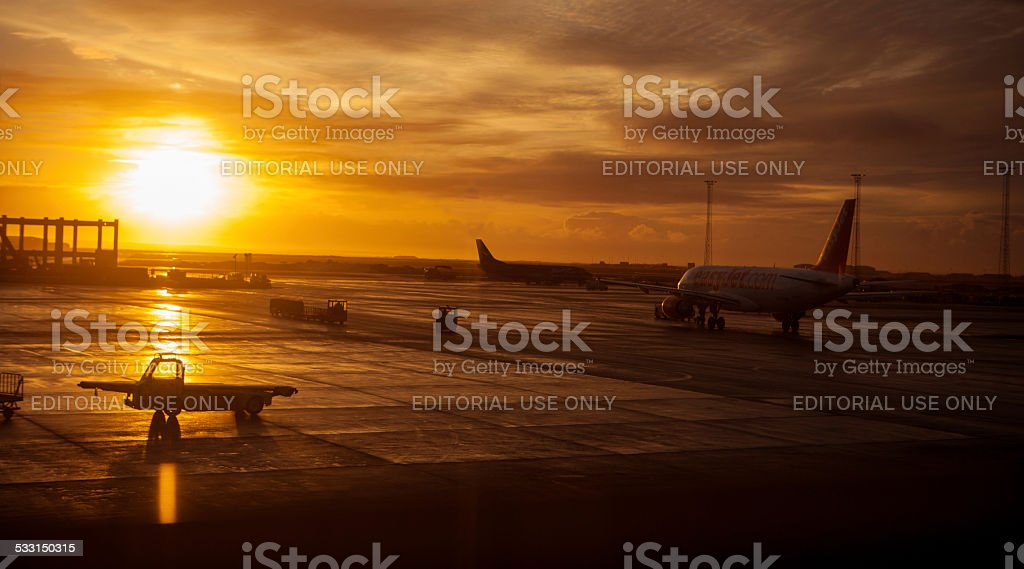 Easyjet airplane sitting on tarmac in Iceland stock photo