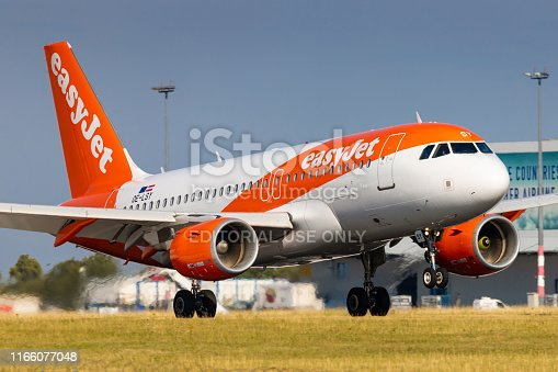 PRAGUE, CZECH REPUBLIC - JULY 21: Airbus A319 of EasyJet  arrival to PRG Airport in Prague on July 21, 2019. Easyjet is a the second largest low cost airliner in Europe.