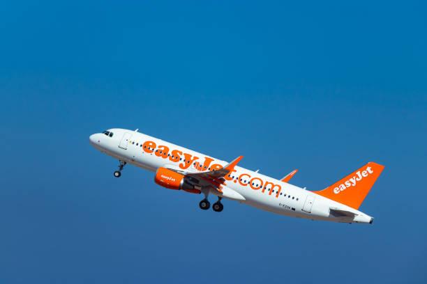 EasyJet Plane and blue sky stock photo