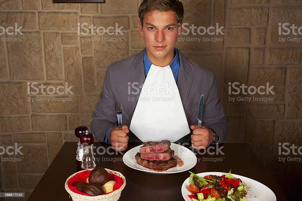 eat a beef steak stock photo