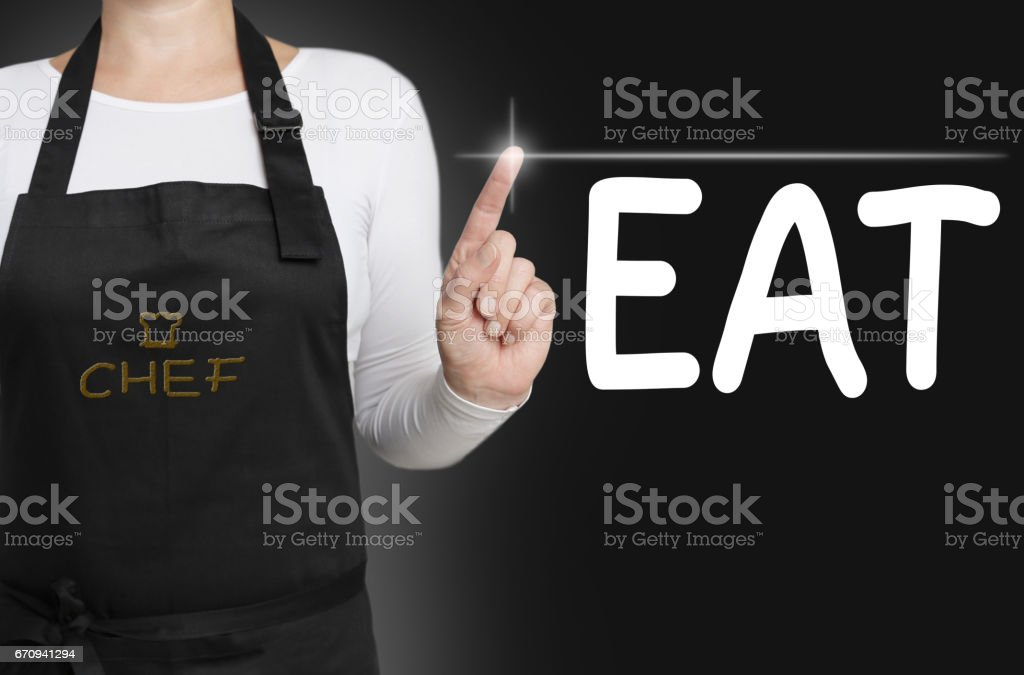 eat background cook operated touchscreen concept stock photo