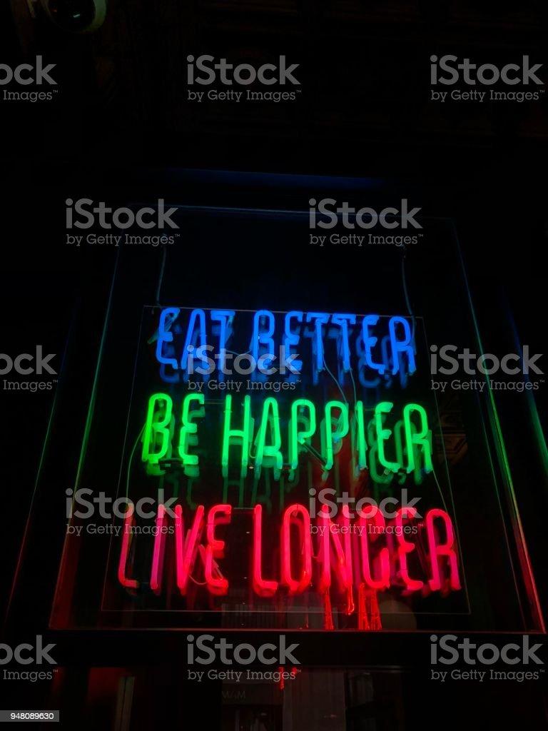 Eat better, be happier, live longer stock photo