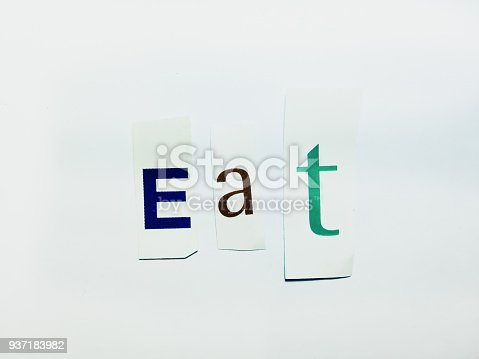 474062446istockphoto Eat - Cutout Words Collage Of Mixed Magazine Letters with White Background 937183982