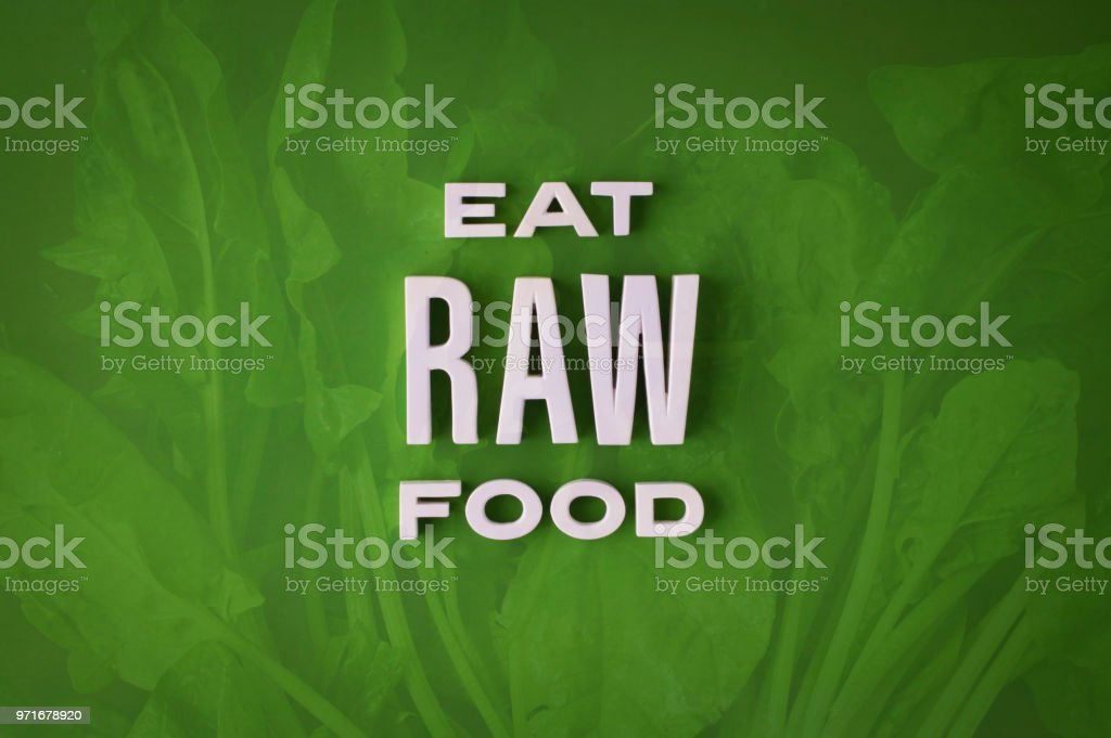 Eat raw food lettering sign stock photo