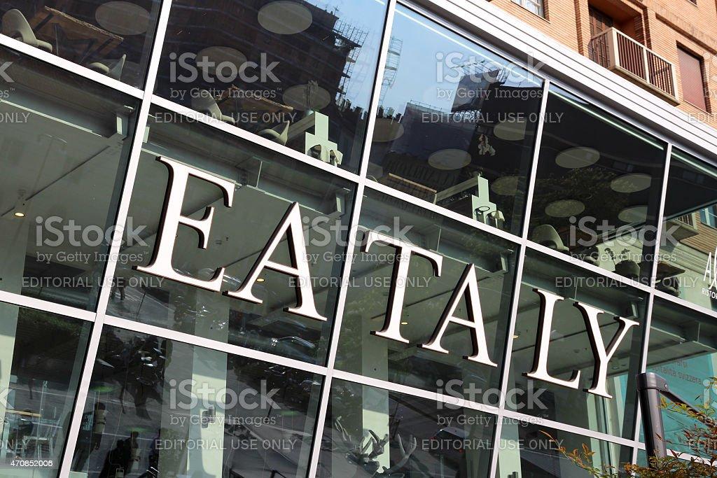 Eataly Milan Smeraldo exterior sign, Italy stock photo