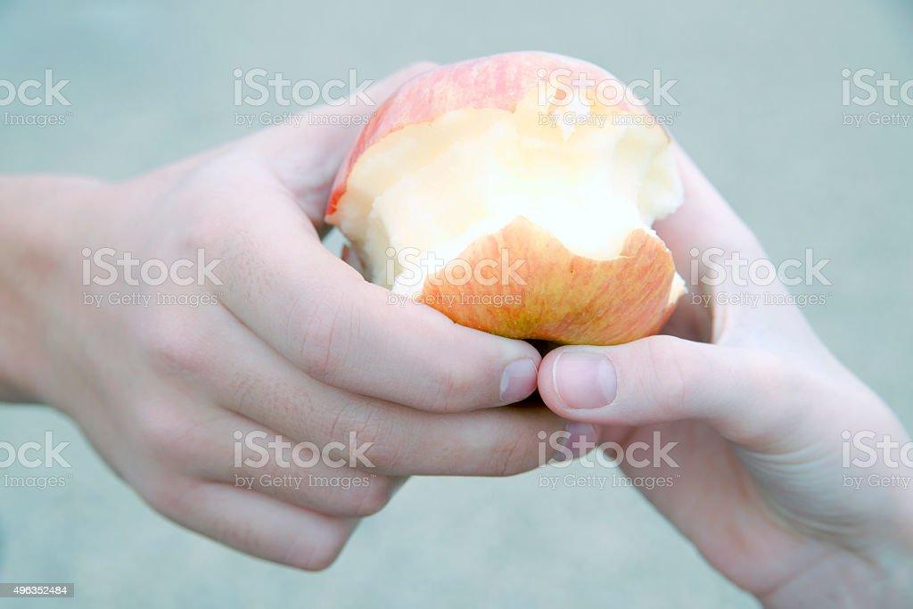 Eaten red apple stock photo