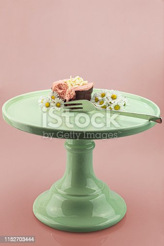 istock Eating a raspberry mousse on a cake stand 1152703444