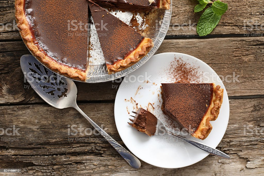Eating A Slice Of Chocolate Pie stock photo