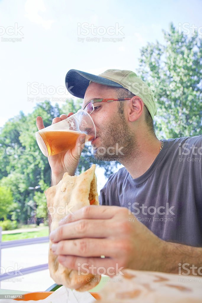 eating and drinking royalty-free stock photo