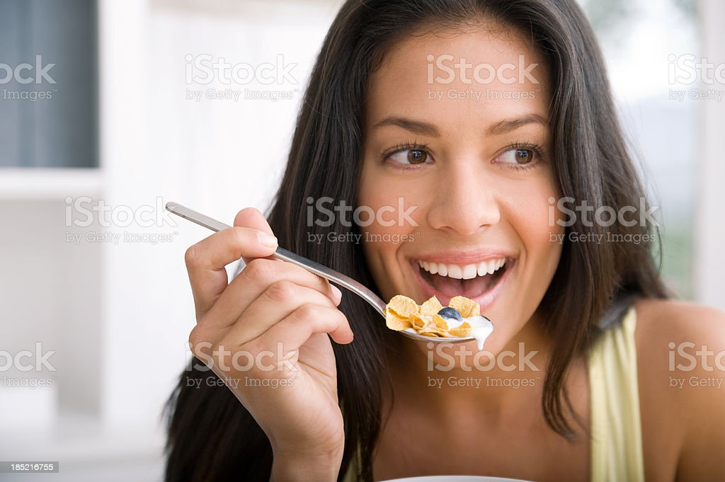 Eating cereal royalty-free stock photo