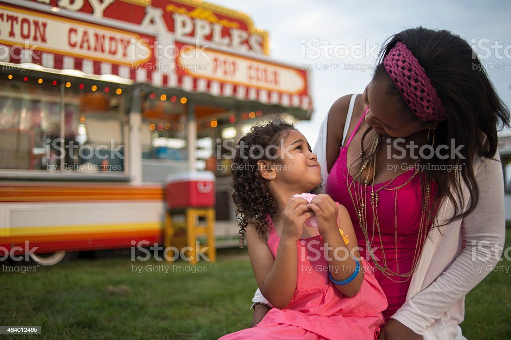 Eating Cotten Candy stock photo