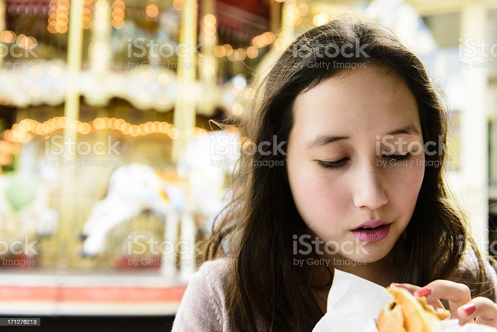 Eating crepes in Paris stock photo