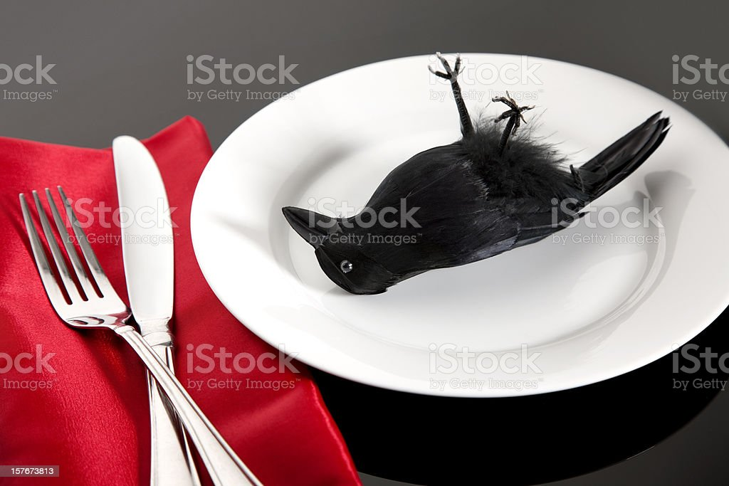 Eating Crow for Dinner stock photo
