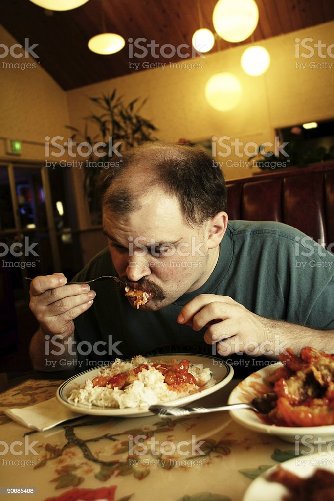 Eating Dinner at a Chinese Restaurant royalty-free stock photo