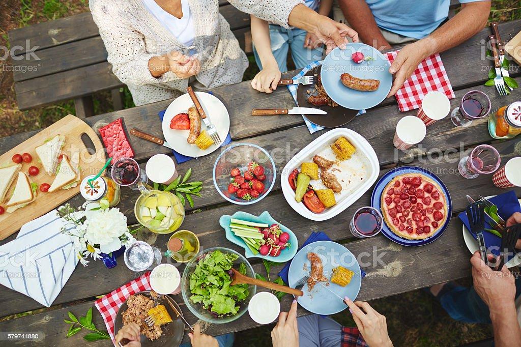 Eating dinner stock photo