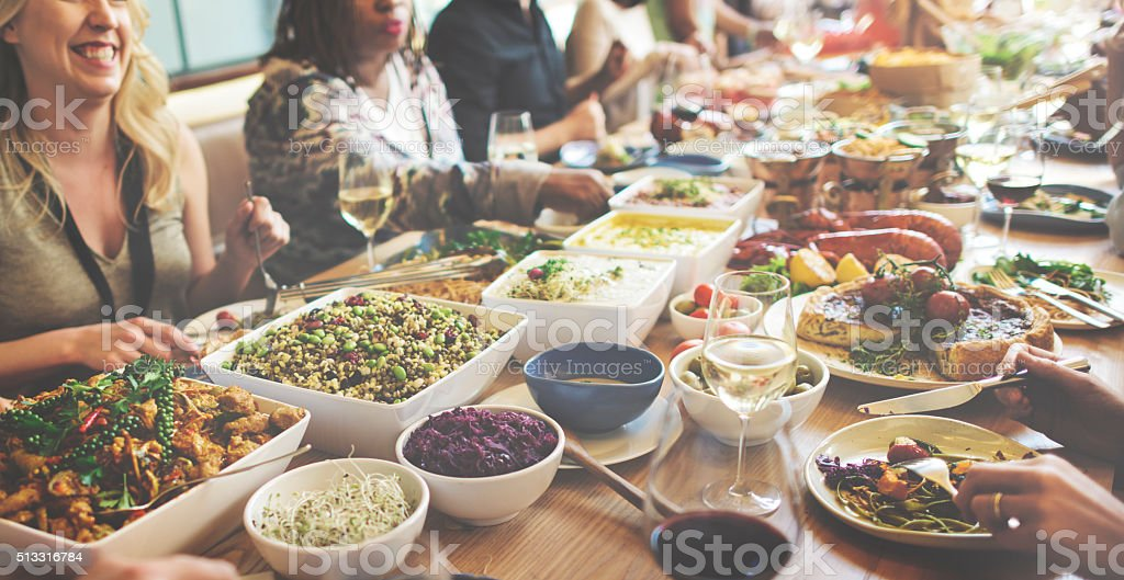 Eating Enjoy Food Festive Cafe Celebrate Meal Concept stock photo