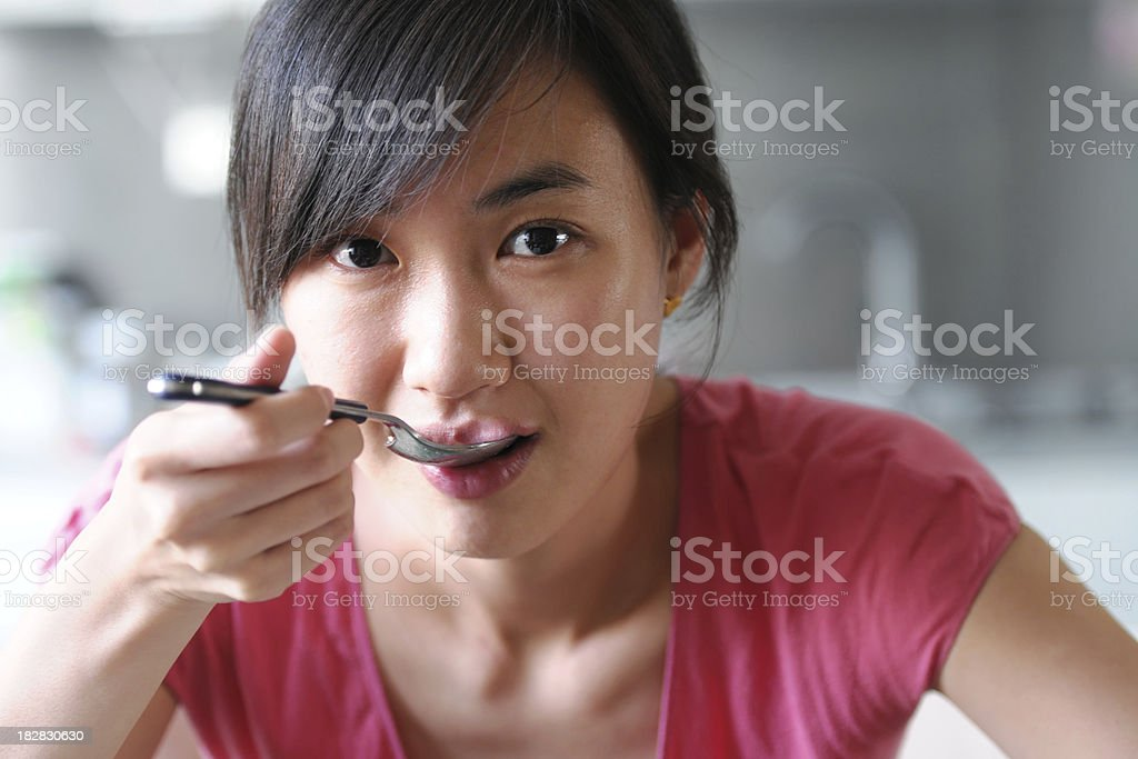 Eating Food With Kitchen Background - XLarge stock photo