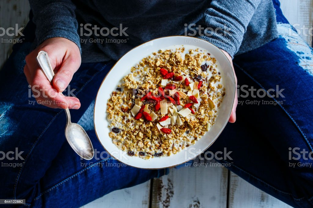 Eating healthy breakfast stock photo
