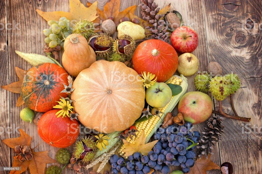 Eating healthy seasonal food - organic fruit and vegetable stock photo