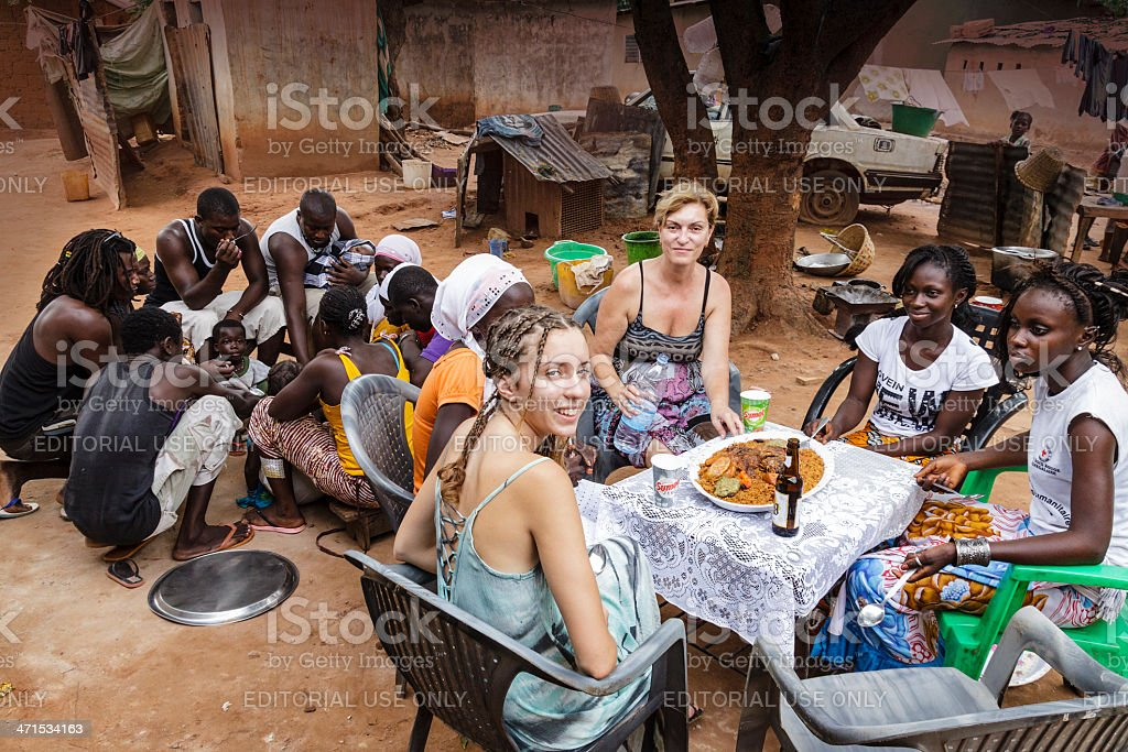 Eating in Africa stock photo