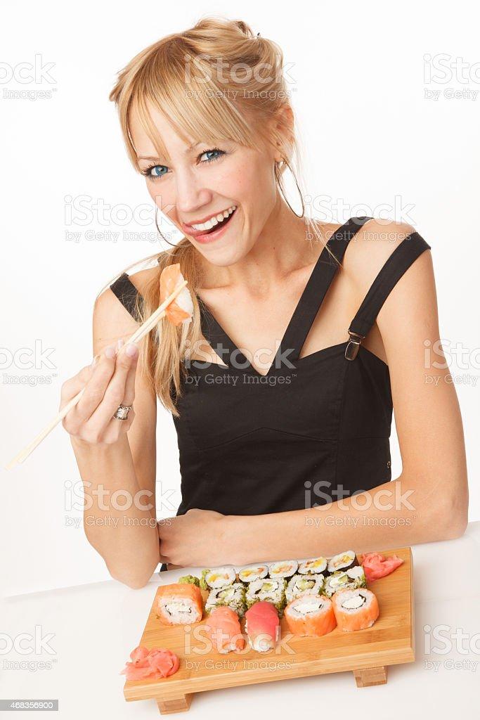 Eating japanise food royalty-free stock photo