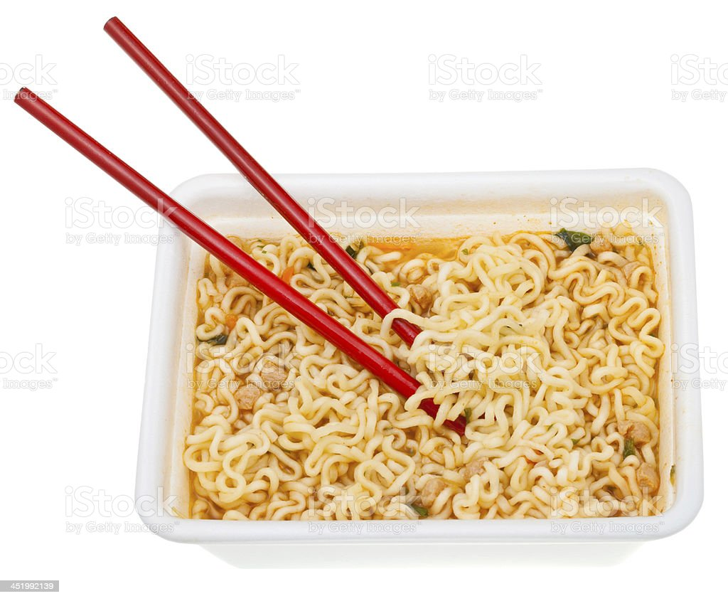 eating of cooked instant ramen royalty-free stock photo