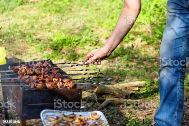 Jedzenie Na Świeżym Powietrzu Jedzenie Szaszłyk Impreza Z Grillem Grill Piknik Jedzenie Na Łęczystej Człowiek I - zdjęcia stockowe i więcej obrazów Brązowy