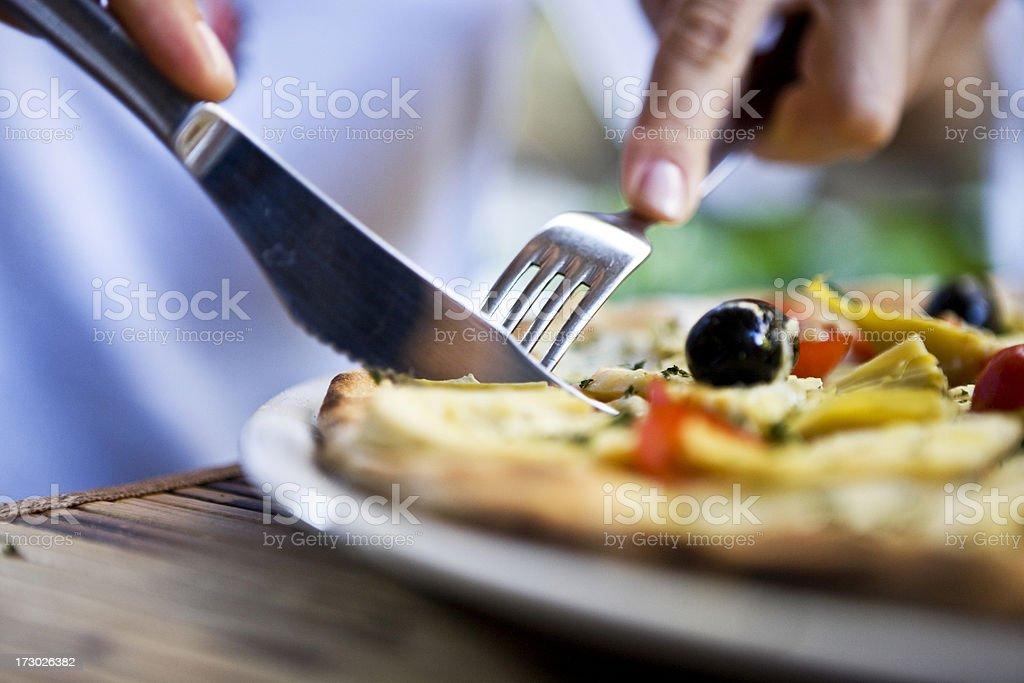 Eating piza royalty-free stock photo