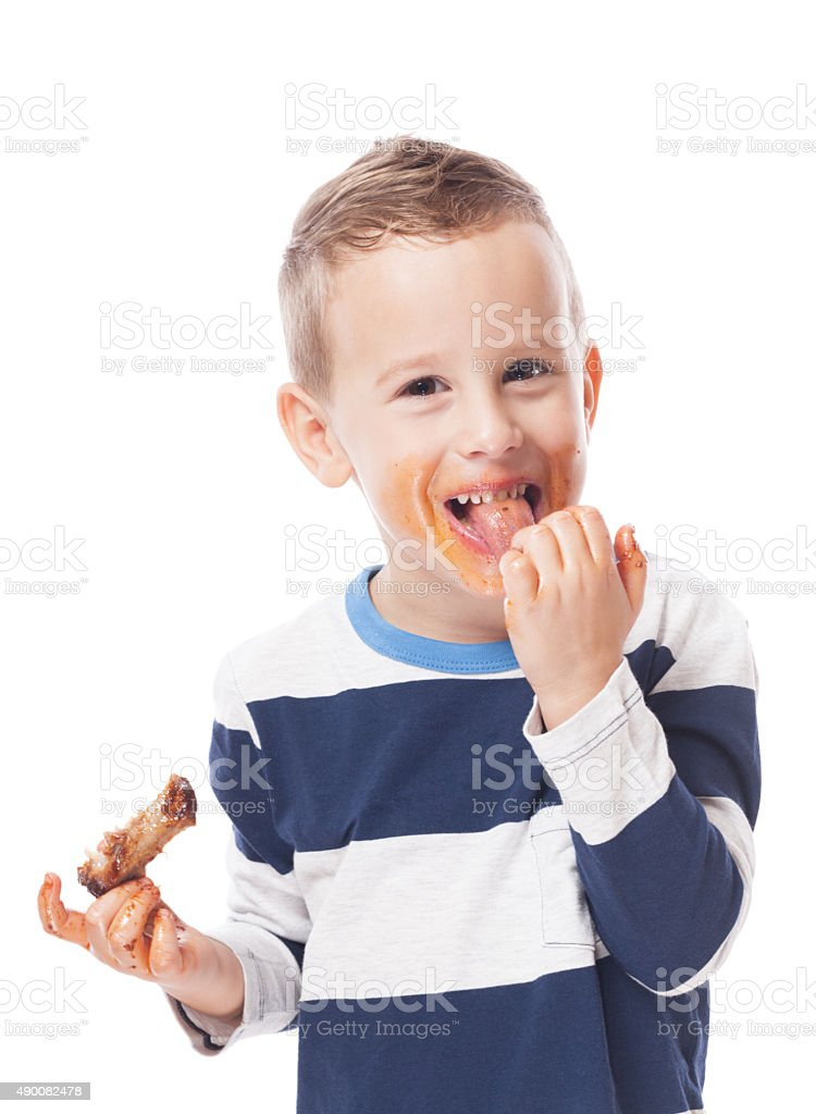 Eating ribs stock photo