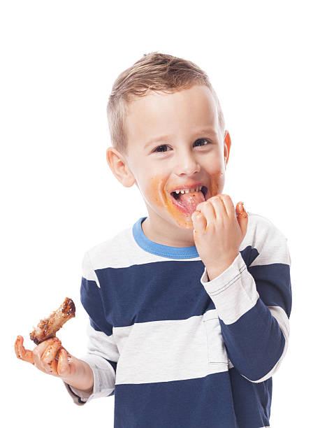 Eating ribs stock photo