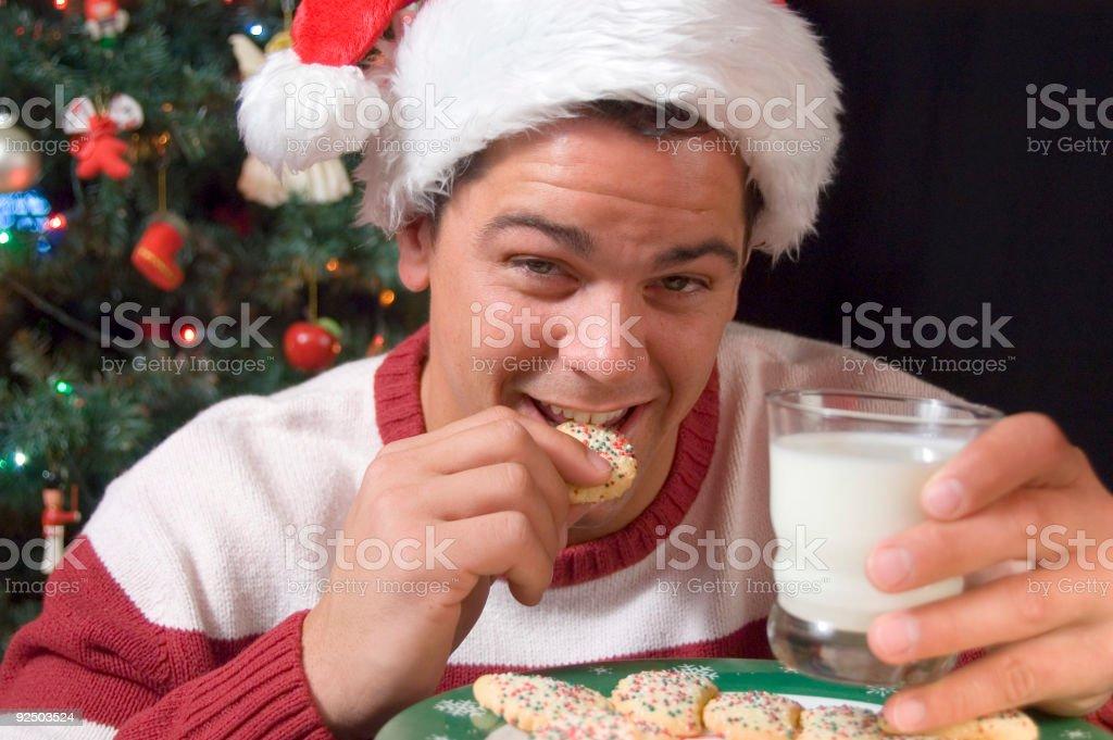 Eating Santa's Cookes royalty-free stock photo