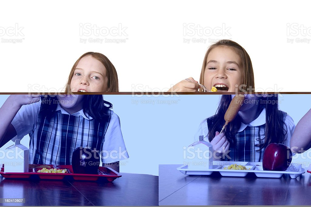Eating School Lunch stock photo