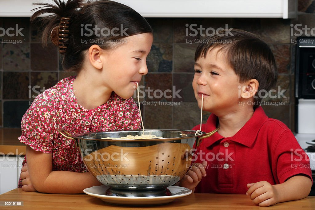Eating spagetthi royalty-free stock photo